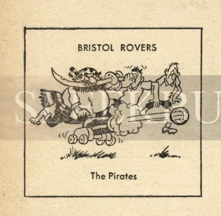 VINTAGE Football Print BRISTOL ROVERS - THE PIRATES Funny Cartoon